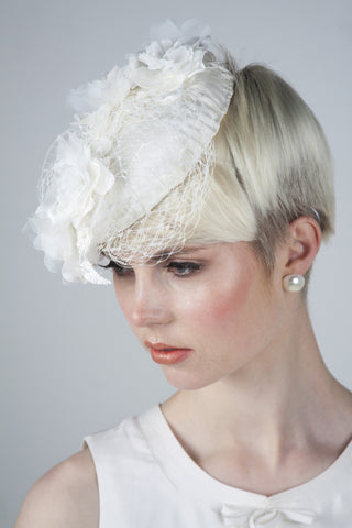 Ivory silk embellished bridal head piece