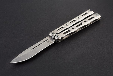 Benchmade 85 Billet Ti Bali-Song Butterfly Knife Titanium Plain Edge