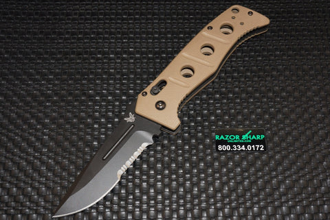 Benchmade 2750SBKSN Adamas Automatic Black Serrated Knife w/ Tan Handle