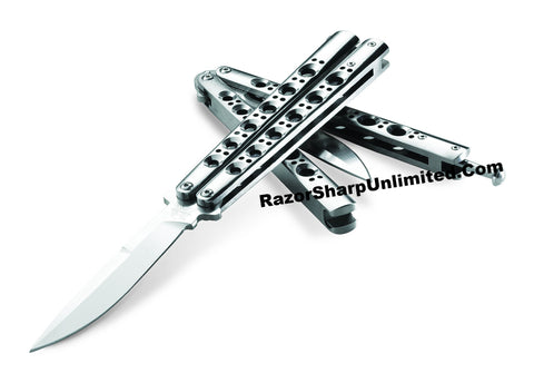 Benchmade BM42S Balisong Knife Titanium Butterfly Knife Spring-Latch Plain BM42