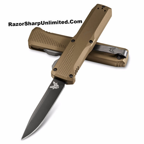 Benchmade 4600-1 Phaeton Dark Earth D/A OTF Automatic Knife Satin Plain Edge