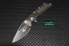 Marfione Strider Custom DOC Manual Flipper Knife Two-Tone Black Ceramic