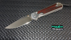 Chris Reeve Large Sebenza 21 Cocobolo Inlay Knife Stonewash Plain Edge