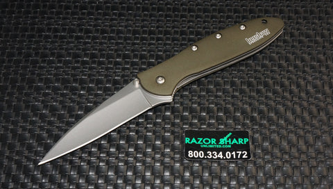 Kershaw 1660OL OD Drab Leek Assisted Opening Knife Plain Edge