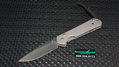 Chris Reeve Small Sebenza 21 Drop Point Knife Stonewash Plain Edge