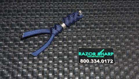 Chris Reeve Knives Small Midnight Blue Cord Tie Lanyard w/ Silver Bead