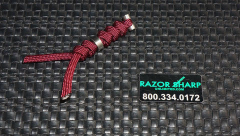 Chris Reeve Knives Large Burgundy Cord Tie Lanyard w/ Silver Bead