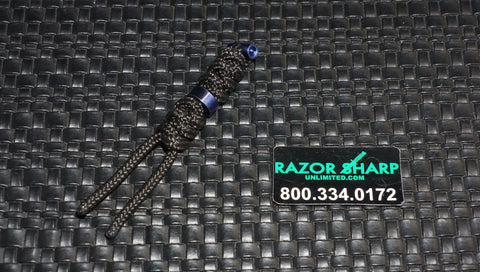 Chris Reeve Knives Large Black Cord Tie Lanyard w/ Ti Blue Bead