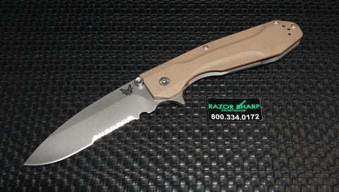 Benchmade 928S Osborne Proxy Flipper Framelock Knife Tan G-10 Satin Serrated