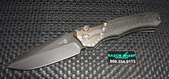 Heretic Knives Wraith Automatic Knife Carbon Fiber/Blue Flamed Titanium Black
