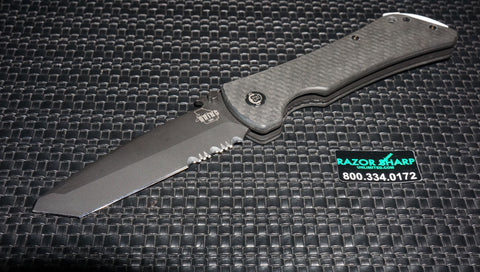 Southern Grind Bad Monkey Folding Black Serrated Tanto Blade Wave Carbon Fiber