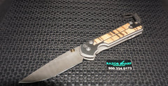 Chris Reeve Large Sebenza 21 Ladder Damascus Spalted Beech Inlay Knife