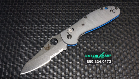 Benchmade 555S-1 Mini Griptilian AXIS Knife Gray/Blue G-10 Satin Serrated