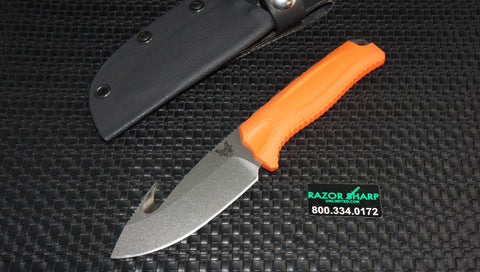 Benchmade 15009-ORG Steep Country Knife Skinner w/ Gut Hook Orange