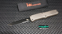 HK 54003 Hadron OTF Tanto Automatic Knife Dark Earth Aluminum Black Serrated