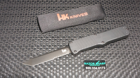 HK 54000 Hadron OTF Tanto Automatic Knife Black Aluminum Black Serrated