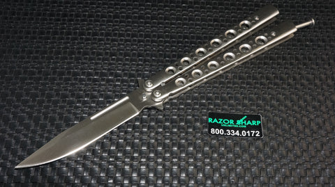 Razor Sharp Unlimited Cutlery T-Latch Balisong Butterfly Stainless Steel Plain Edge