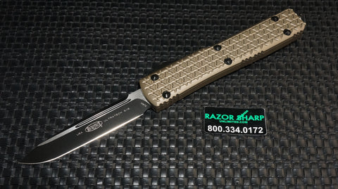 Microtech 121-1TA Ultratech S/E OTF Automatic Knife Tan Black Plain 121-1TA