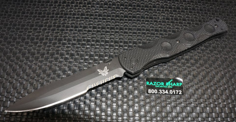 Benchmade 390SBK SOCP Liner Lock Knife Black G-10 Black Serrated Blade