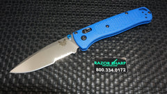 Benchmade 535S Bugout AXIS Lock Knife Blue Grivory Satin Serrated Edge