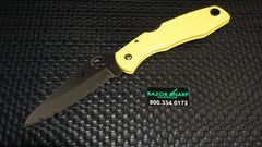 Spyderco C91SYL Pacific Salt H-1 Satin Serrated Knife Yellow FRN Handle