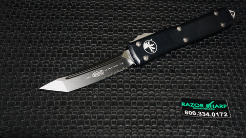 Microtech 123-2 Tanto Ultratech OTF Knife Automatic Black Serrated
