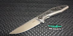Zt Zero Tolerance 0470 Sinkevich Flipper Knife Titanium CF Marbled Satin Plain