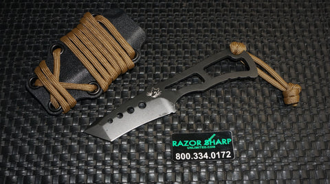 Southern Grind Rat Tanto Point Fixed Blade Neck Knife Black Plain