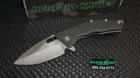 Heretic H009-2A Knives Martyr Spear Point Flipper Knife Stonewash Plain Edge