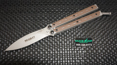 Bradley BCC902 Kimura Butterfly Balisong Spear Point Knife Coyote G-10 Plain