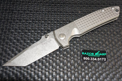 Les George Knives VECP Titanium Framelock V.3 Tanto FRAG Pattern Handle