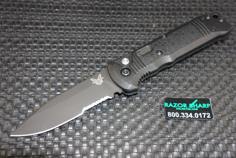 Benchmade 4400SBK Casbah Automatic Knife Black Grivory Black Serrated