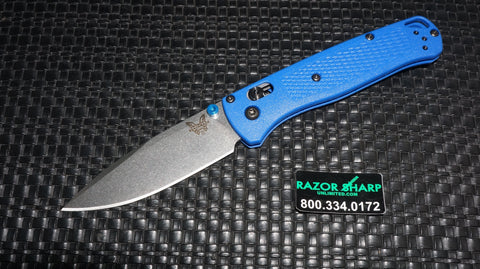 Benchmade 535 Bugout AXIS Lock Knife Blue Grivory Satin Plain Edge