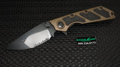 Microtech 153-2TA Tan DOC Flipper Knife Aluminum Folder Black Serrated Edge