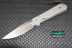 Chris Reeve Large Sebenza 21 Folding Knife Drop Point Stonewash Plain Edge