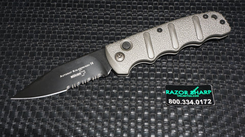 Boker KALS74B Kalashnikov Automatic Knife Gray Drop Point Serrated