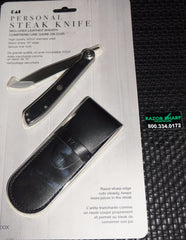 Kai 5700X Personal Folding Steak Knife Liner Lock includes a small leather sheath