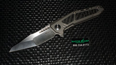 Reate Knives K-3 Tanto Frame Lock Flipper Knife Carbon Fiber/Ti Satin Plain Edge