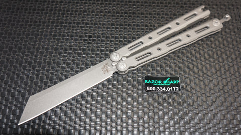 Benchmade 87 Ti Bali-Song Butterfly Knife Titanium Satin Plain Edge
