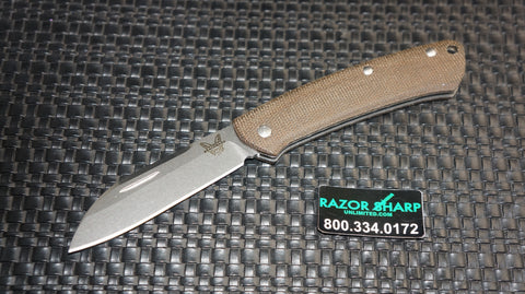 Benchmade 319 Proper Slip Joint Knife Sheepfoot Plain Contoured Brown Micarta