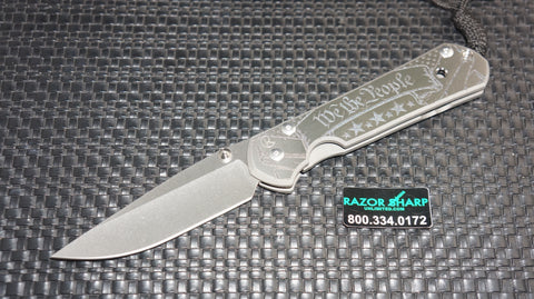 Chris Reeve Large Sebenza 21 CGG Knife We the People Plain Stonewash Edge