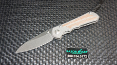 Chris Reeve Large Sebenza 21 Insingo Knife Natural Micarta Inlays Stonewash Plain