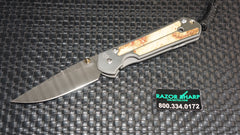 Chris Reeve Small Sebenza 21 Knife Ladder Damascus Box Elder Inlay