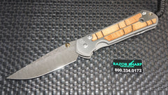 Chris Reeve Large Sebenza 21 Basketweave Damascus Spalted Beech Inlay