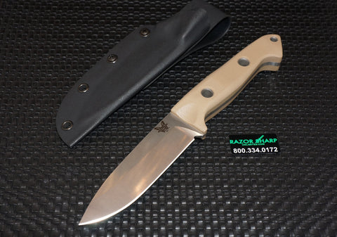Benchmade 162-1 Bushcrafter Sibert Fixed Blade Knife Sand G-10