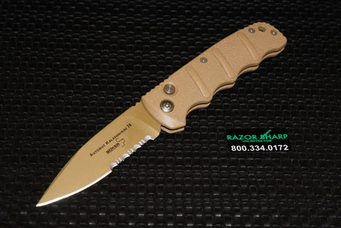 Boker KALS74DES Kalashnikov Automatic Knife Desert Sand Tan Serrated