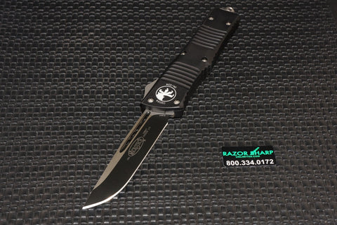 Microtech 144-1 Combat Troodon Tanto OTF Automatic Knife Black Plain