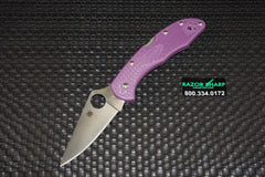 Spyderco C11FPPR Delica 4 Knife Purple FRN Satin Flat Ground Plain