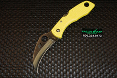 Spyderco C106PYL Tasman H1 Salt Knife Yellow FRN Satin Plain Edge
