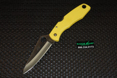 Spyderco C91PYL Pacific Salt H-1 Satin Plain Knife Yellow FRN